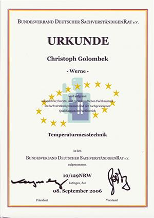 BDSR Sachverständiger Zertifikat - MSR Golombek Temperaturmesstechnik GmbH