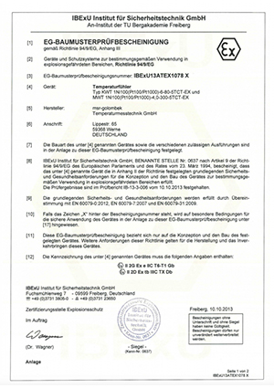 EG Baumusterprüfungsbescheinigung - MSR Golombek Temperaturmesstechnik GmbH