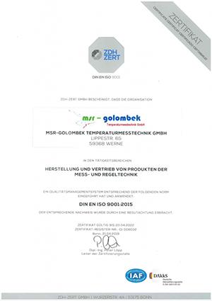 ISO Zertifikat 9001-2015 - MSR Golombek Temperaturmesstechnik GmbH