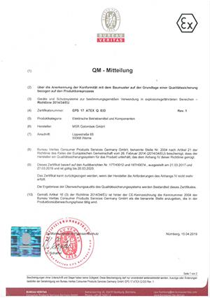 QM-Mitteilung Zertifikat - MSR Golombek Temperaturmesstechnik GmbH
